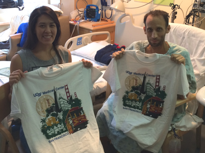 Days after surgery, Tiffany and Randy earned shirts for walking laps around the hospital as part of their recovery. (Photo courtesy Tiffany Henness/ Thoroughly Thriving )