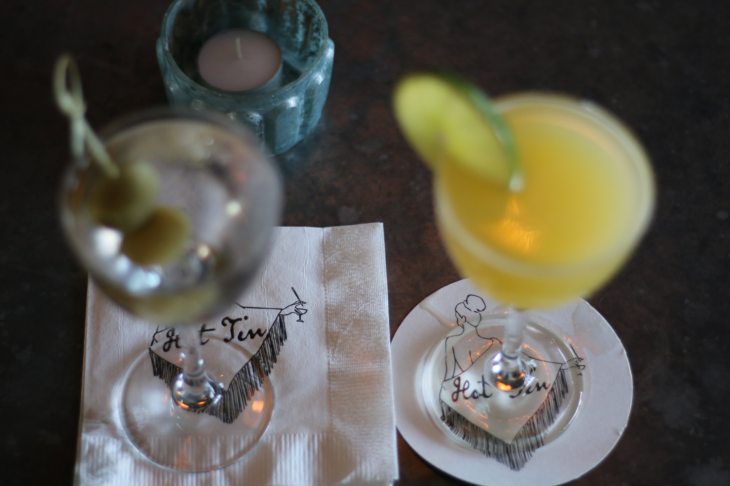 A Bombay Sapphire martini and the The Pineapple Upside-Down Daiquiri at Hot Tin