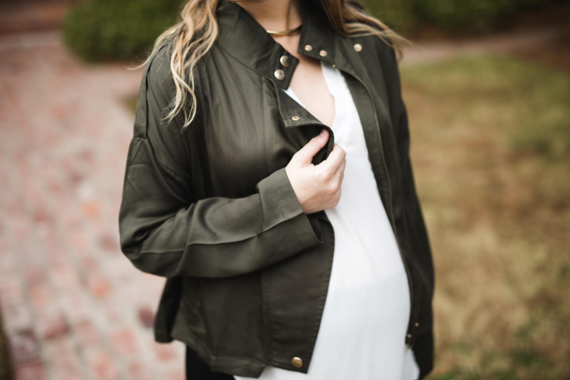 Olive Moto Maternity Jacket