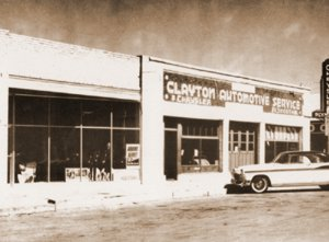Clayton Automotive Service. This building was constructed in 1915 and located on the northwest corner of Main and Second Streets. The photograph was taken when W.C. (Bill) Wheatley was owner-operator. He started the business in 1932 and sold out in 1973. After several owners, FNB New Mexico bought the lot. The building was torn down in 1989 to make a parking area.