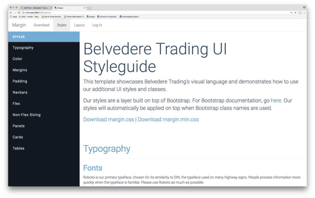 Screen grab of Belvedere Trading UI style guide computer screen