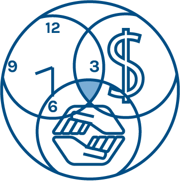 An icon symbolizing Me In Team. A clock, a dollar sign, and two hands.