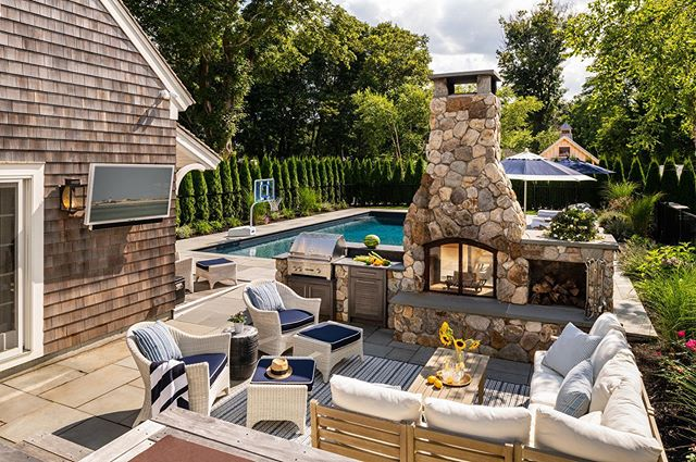 Happy Labor Day weekend! Enjoy your last summer days.  #capecodbuilder #poolhouse #outdoorkitchen #outdoorliving #capecodhome