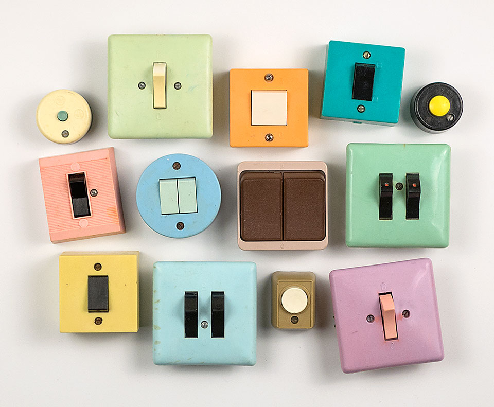 Light switches and buttons scored at flea markets in Moldova and Ukraine