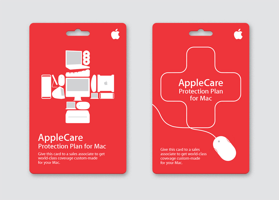 AppleCare point-of-purchase card designs for third-party Apple retailers