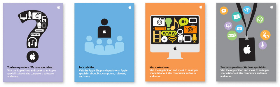 Design exploration for Apple Shop retail channel posters