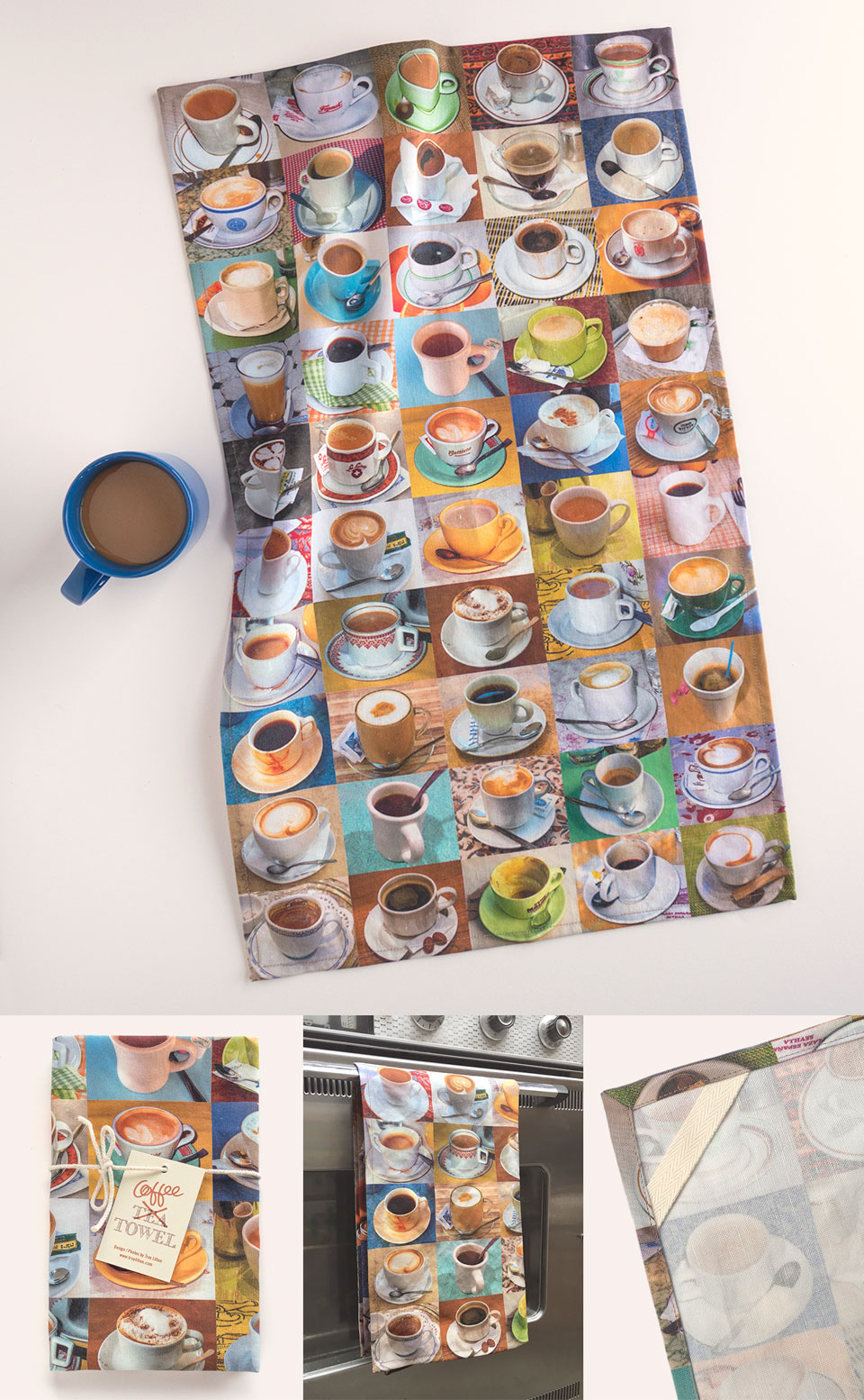 My Coffee Tea Towel features my photographs of cups of coffee from around the world printed on a linen cotton blend fabric.
