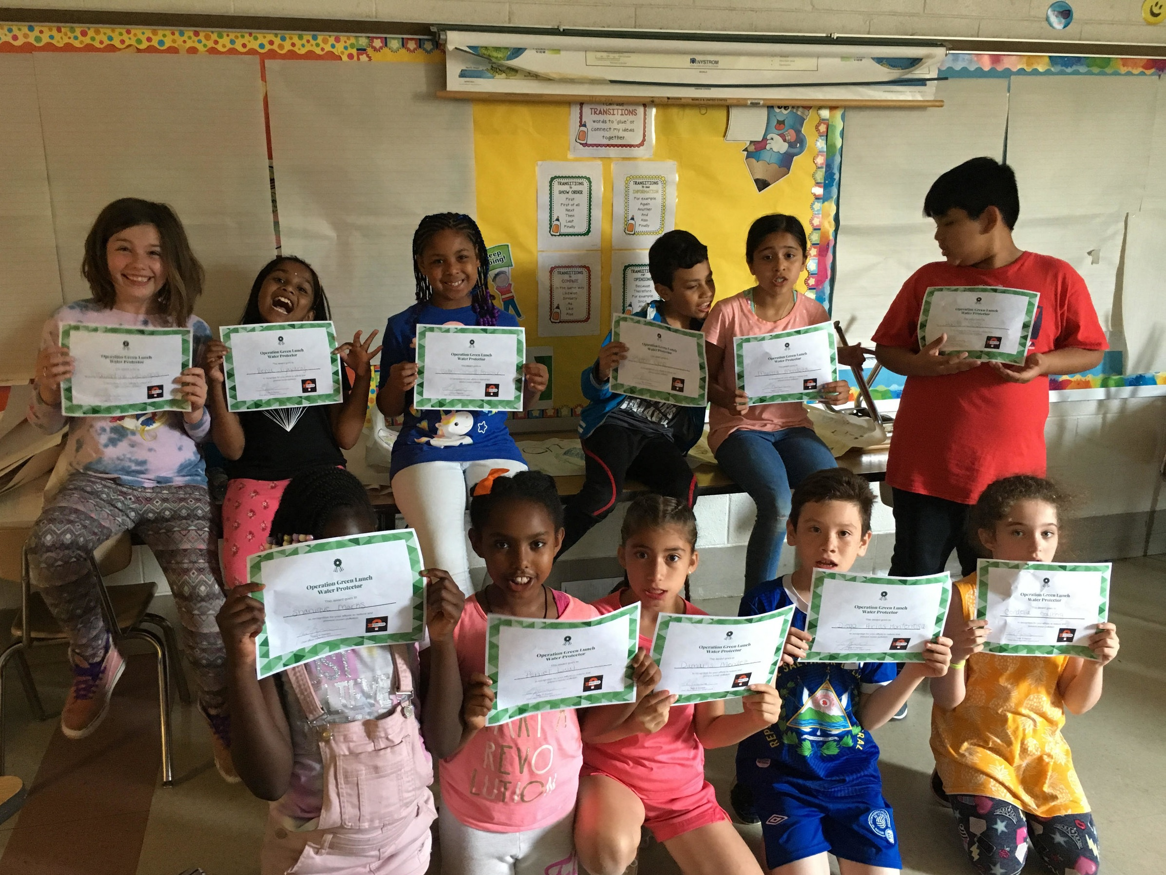 On the last day of class for the Spring Session each student earned their Operation Green Lunch Water Protector Certificates! -