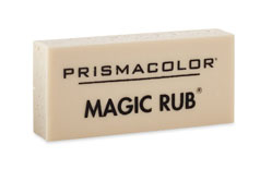 8B: Prismacolor Magic Rub Vinyl Drafting Eraser - I use this for erasing pencil lines after I ink. Really picks up the pencil well.