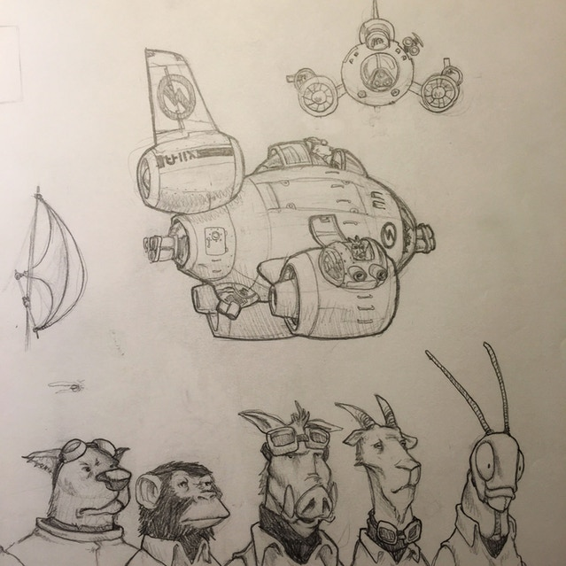 One of my first drawings for what would become SkyHeart. A group of crazy animals flying around in a gunship.