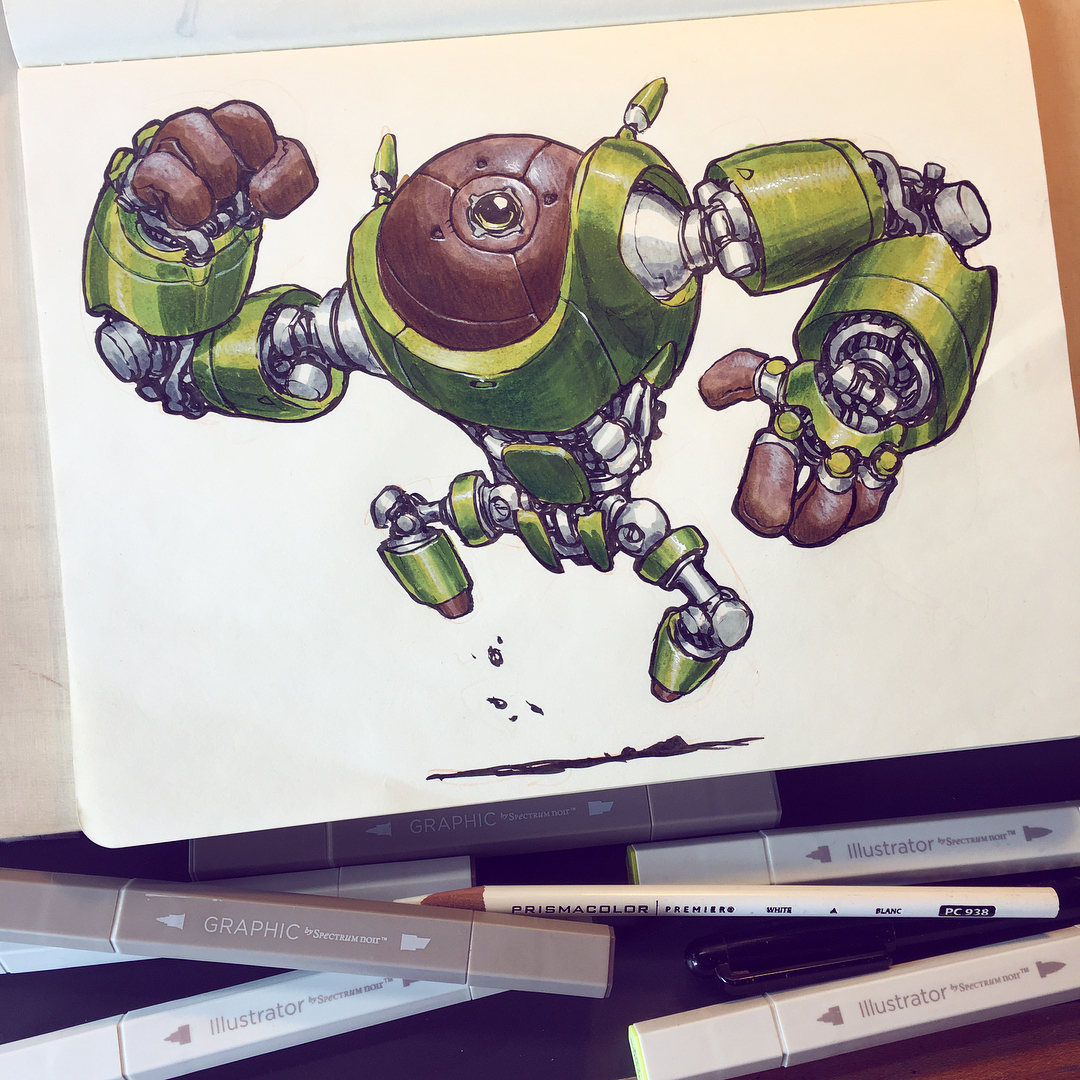 "Only after I posted this on Instagram and someone mentioned the word ""avocado"" did I realize this looks like an AVOCADO BOT. Maybe I should do more food based robots."