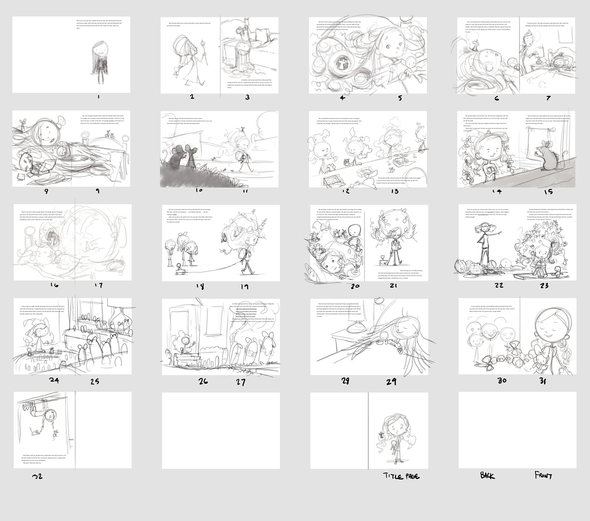 "Thumbnail sketches for "" The Girl Who Wouldn't Brush Her Hair. """