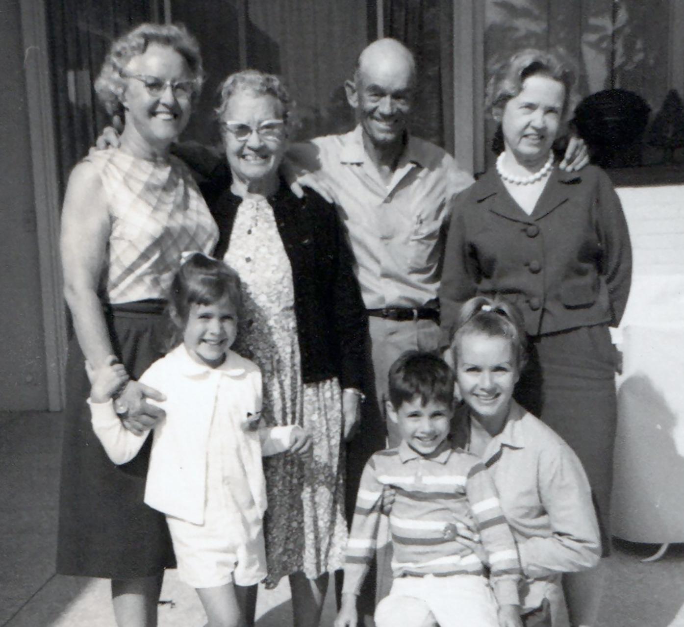 MAXINE REYNOLDS, CARRIE, GRANDMA HARMAN, RAY REYNOLDS, TODD, DEBBIE &  AUNT PEARL