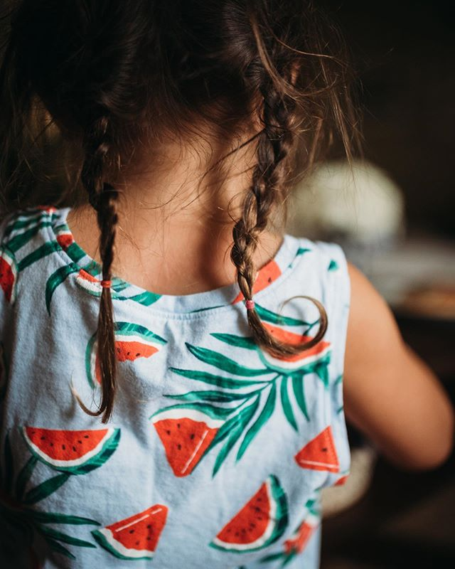 Day old braids, after a long night at the little league fields.  These are the days my friends and it's going by so fast 🥺🍉⚾️✨💓