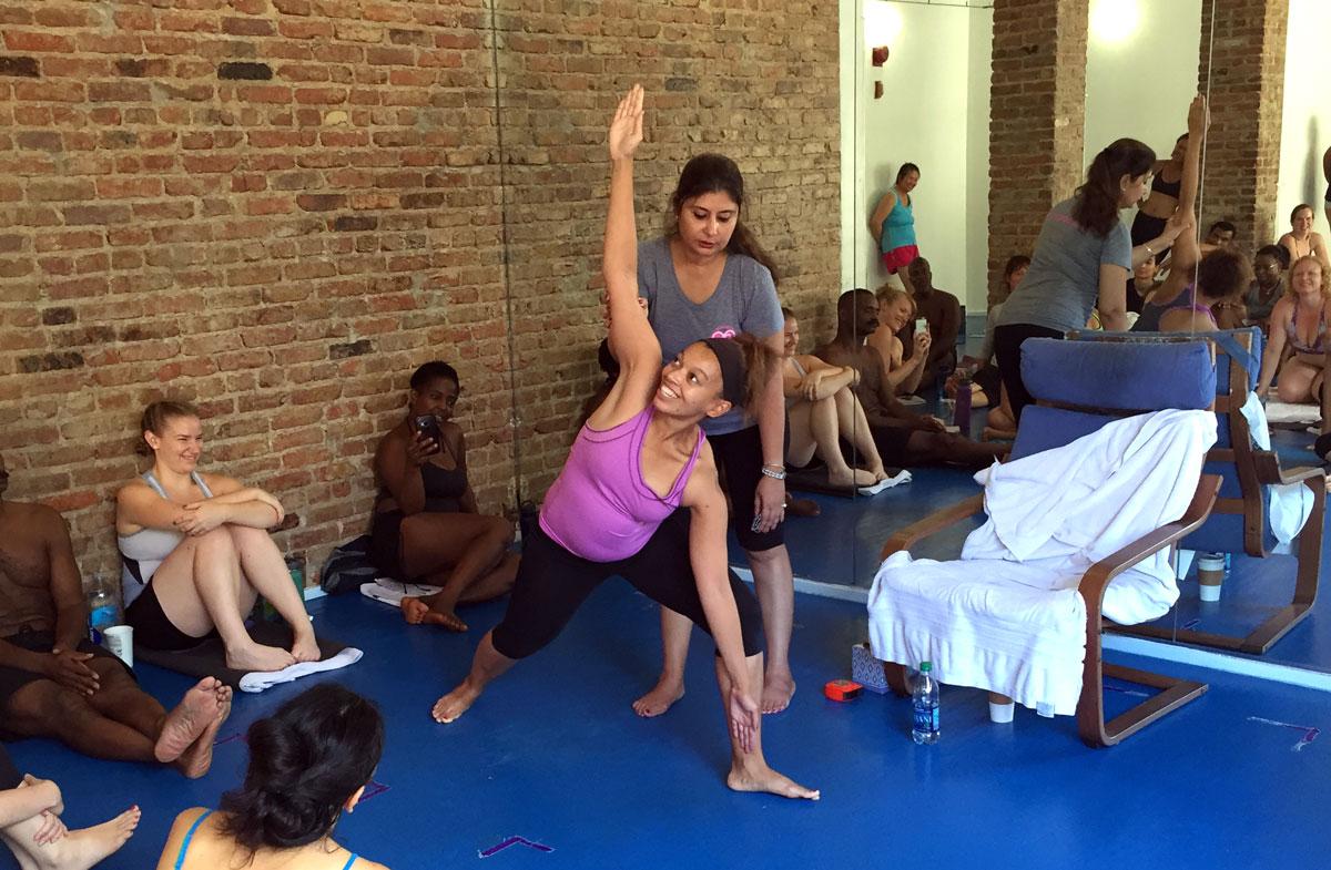 Lauren in triangle pose