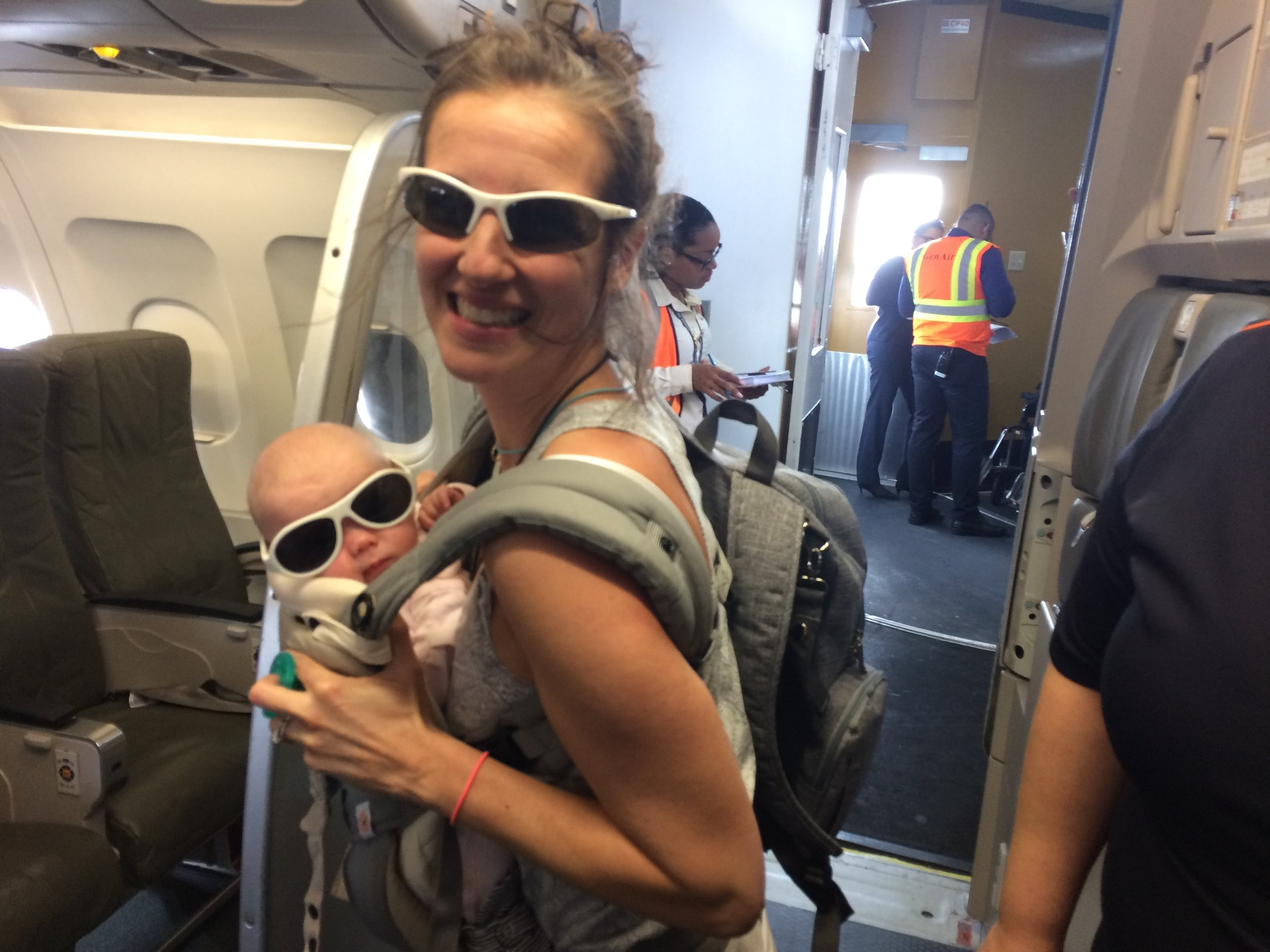Kelly & Scarlett (3 months old) off to Aruba.