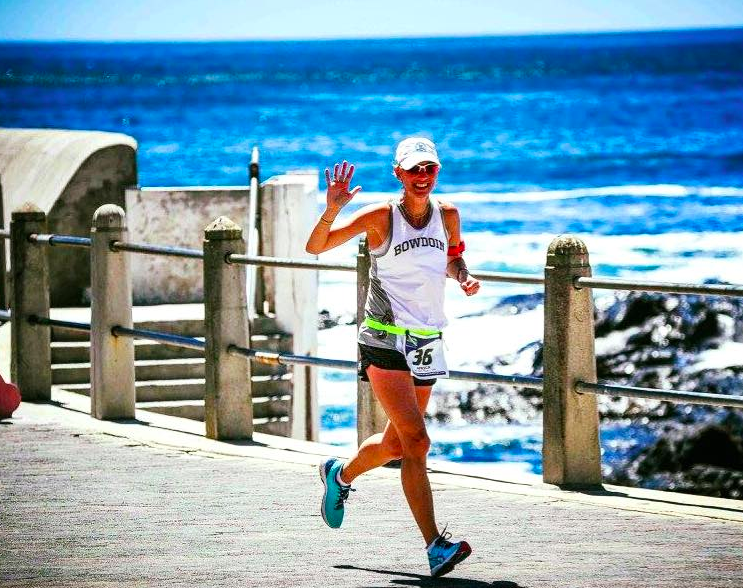 Photo of FIT Founder Kelly McLay running in Cape Town, South Africa during the World Marathon Challenge. Photo by Mark Conlon.