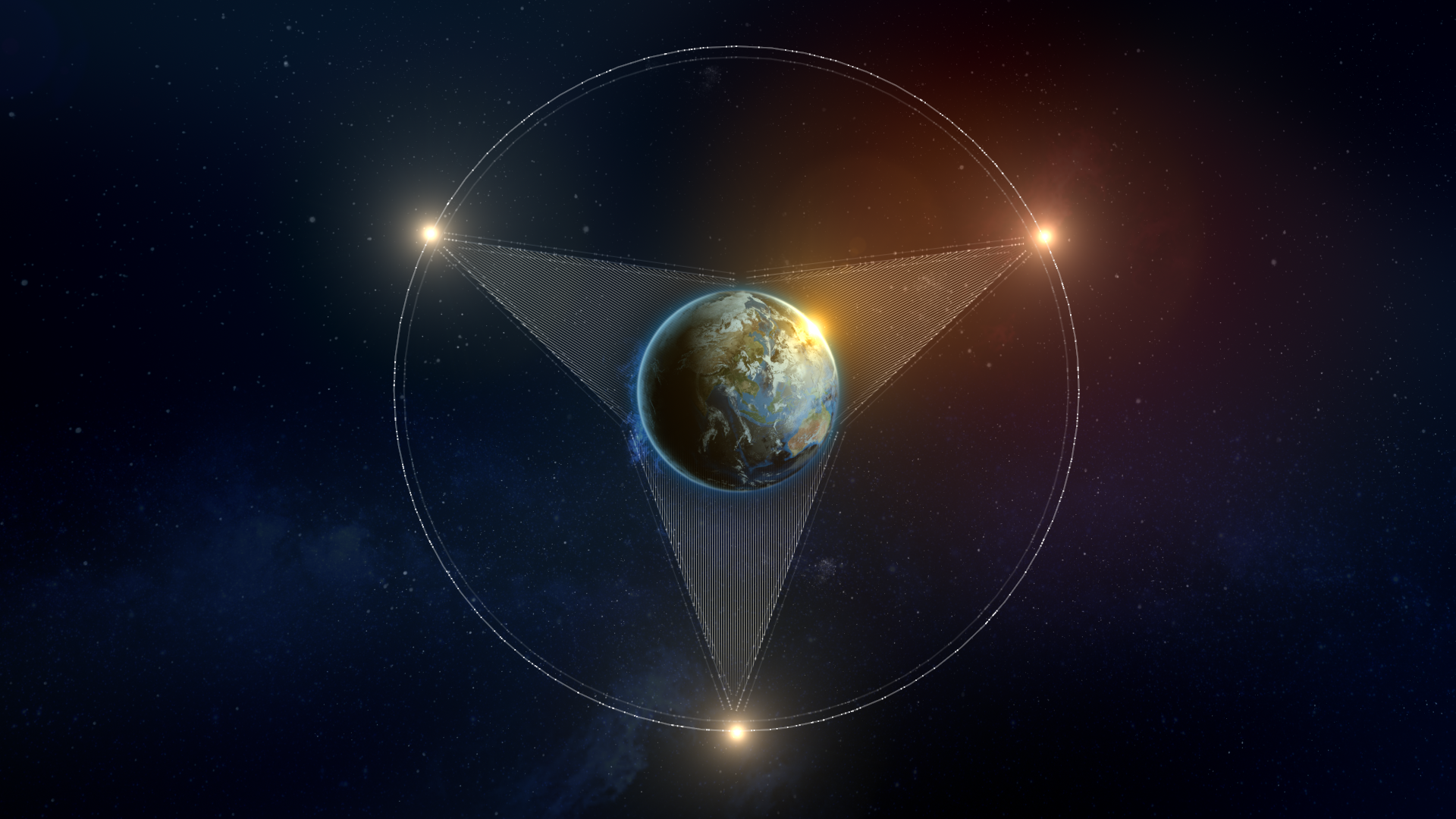 A still from a sequence illustrating geostationary satellites and their ability to blanket the earth in communications.