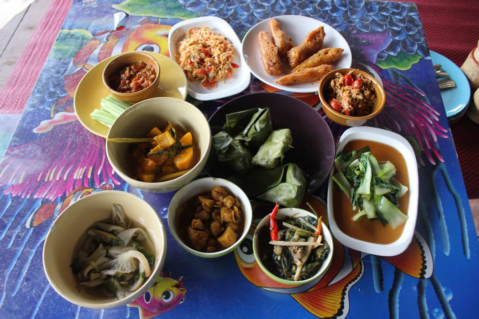 Traditional, all-vegan Lanna (Northern Thai) feast served at Elephant Nature Park.