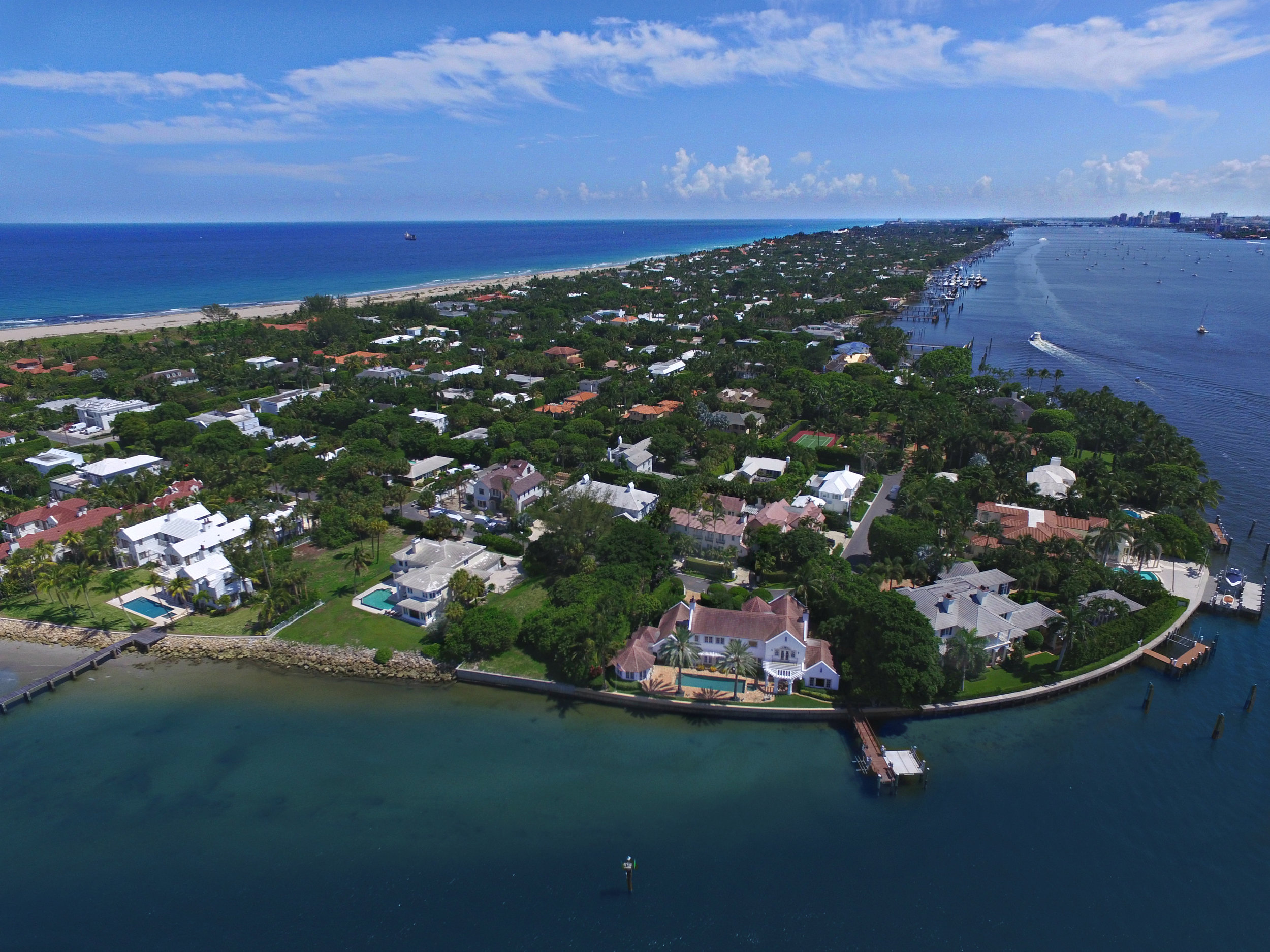 An aerial view of Palm Beach from the North End of the island