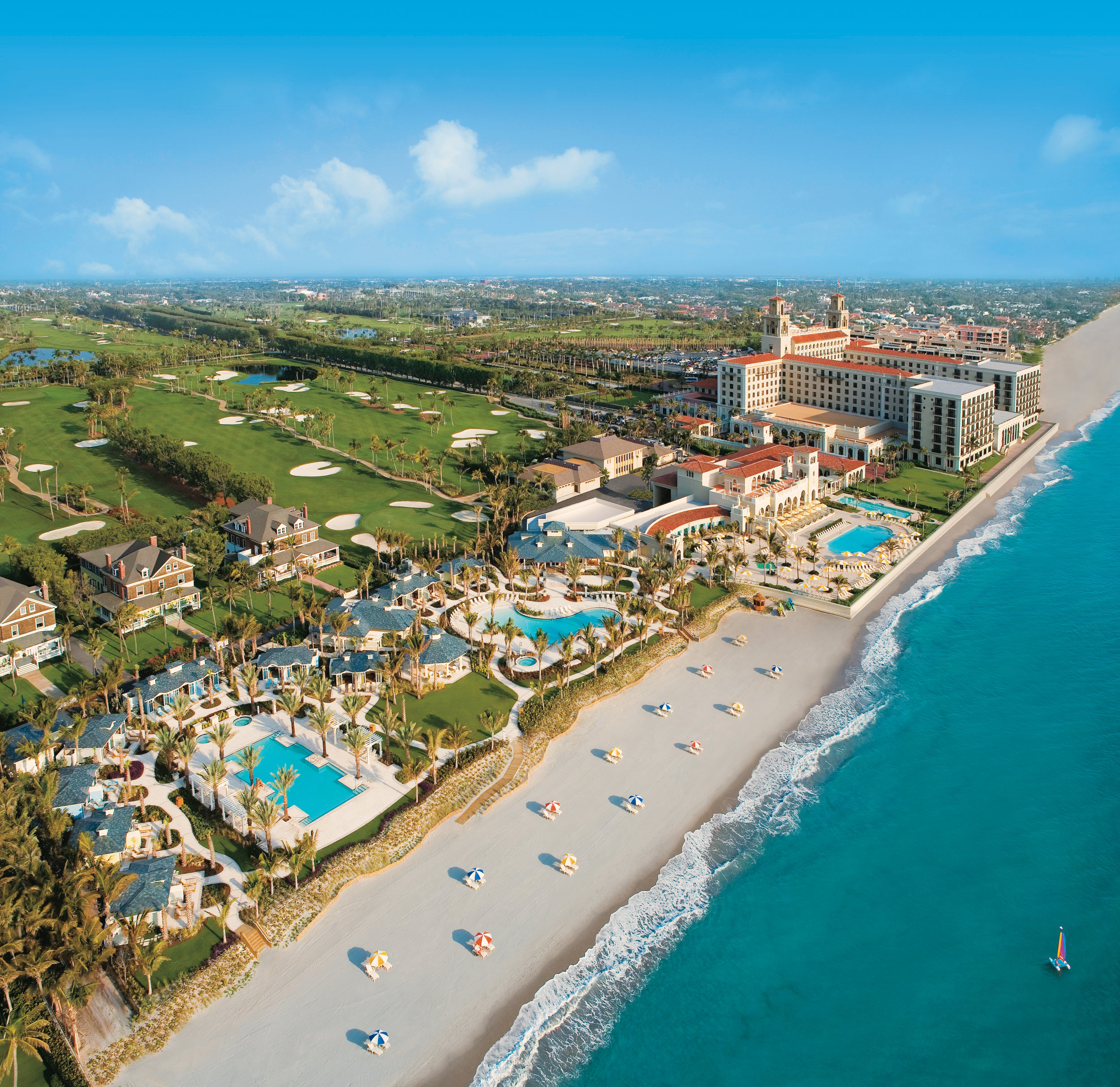 Aerial view of The Breakers' 140 acres of oceanfront property in the heart of Palm Beach