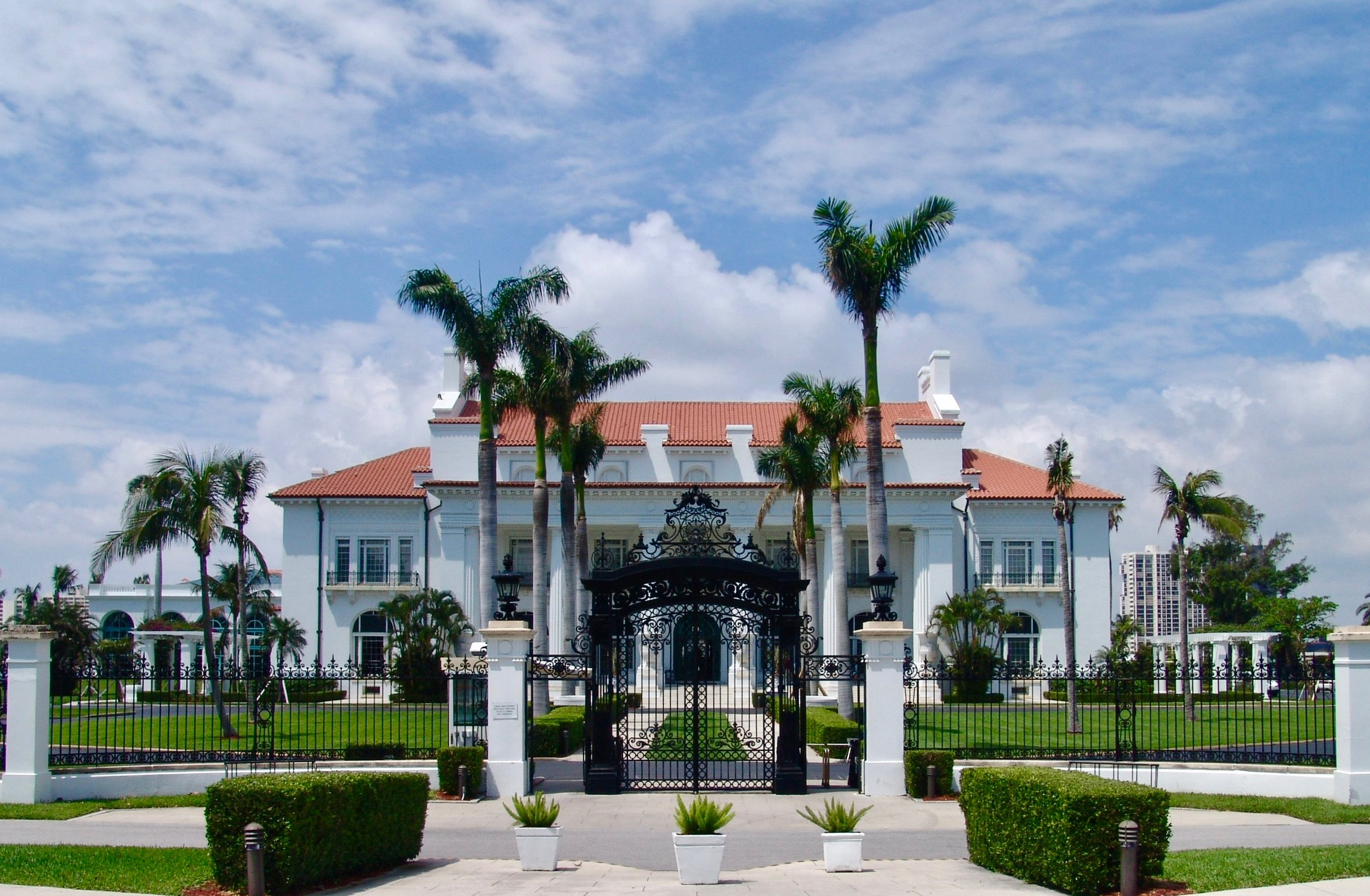 Whitehall, also known as the  Flagler Museum , is located on the west end of Royal Poinciana Way