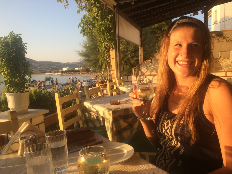 Post Paros arrival Meg at our favorite restaurant