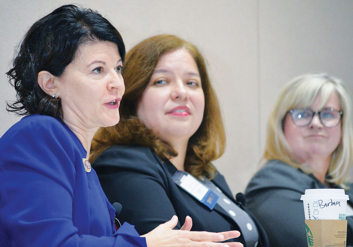 Panelists Barbara Favola, Shelby Gonzales and Lisa Tatum discuss local, state and federal programs Oct. 13 at the Medical Care for Children Partnership Foundation's 2017 State of Children's Health Breakfast, held at the Inova Center for Personalized Health in Fairfax. (Photo by Brian Trompeter)