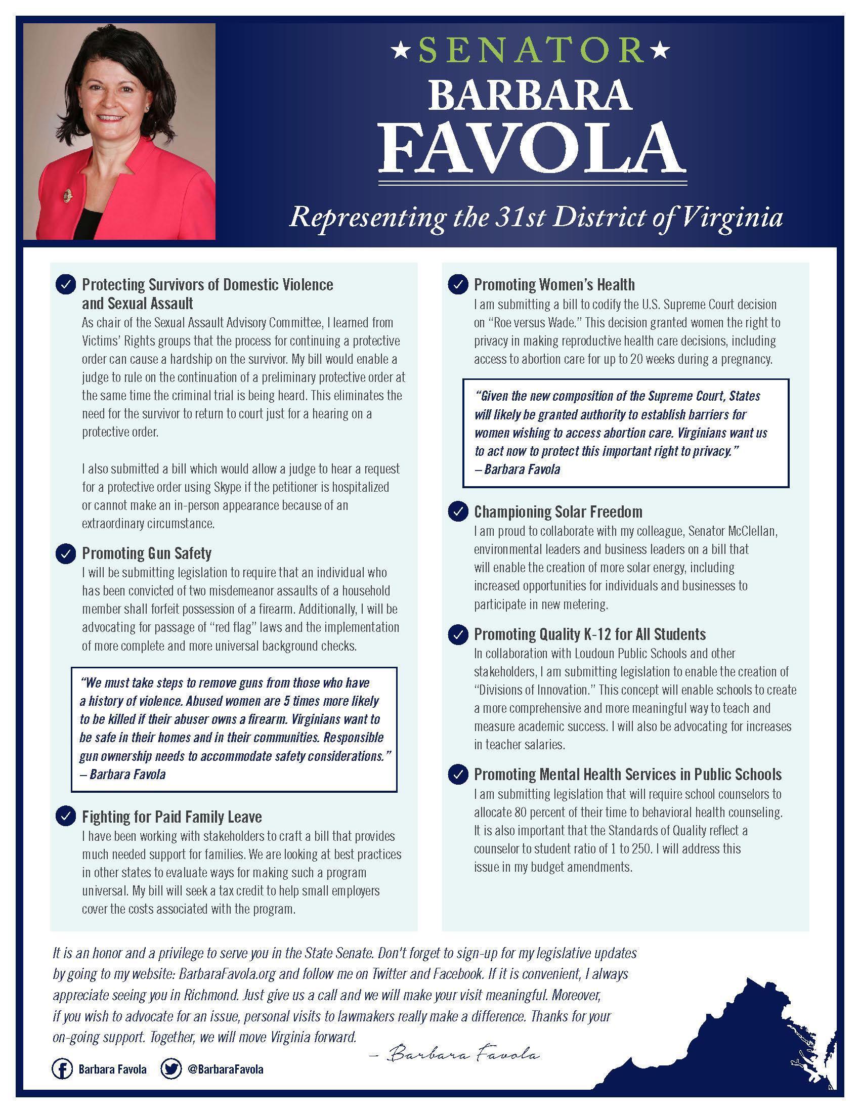 Senator Barbara Favola 2019 Legislative Agenda