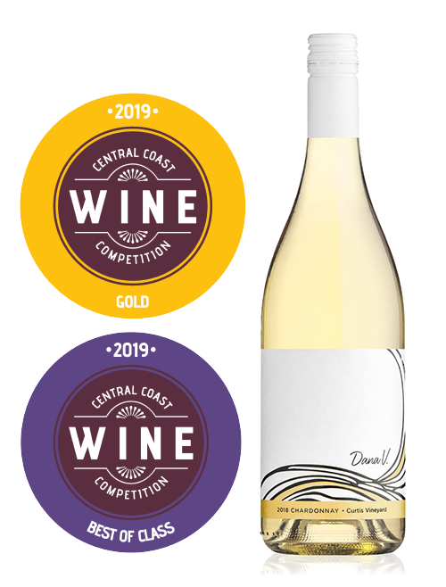Dana V. Wines' 2018 Curtis Vineyard Chardonnay won a Gold medal and Best in Class for un-Oaked Chardonnay in the 2019 Central Coast Wine Competition.