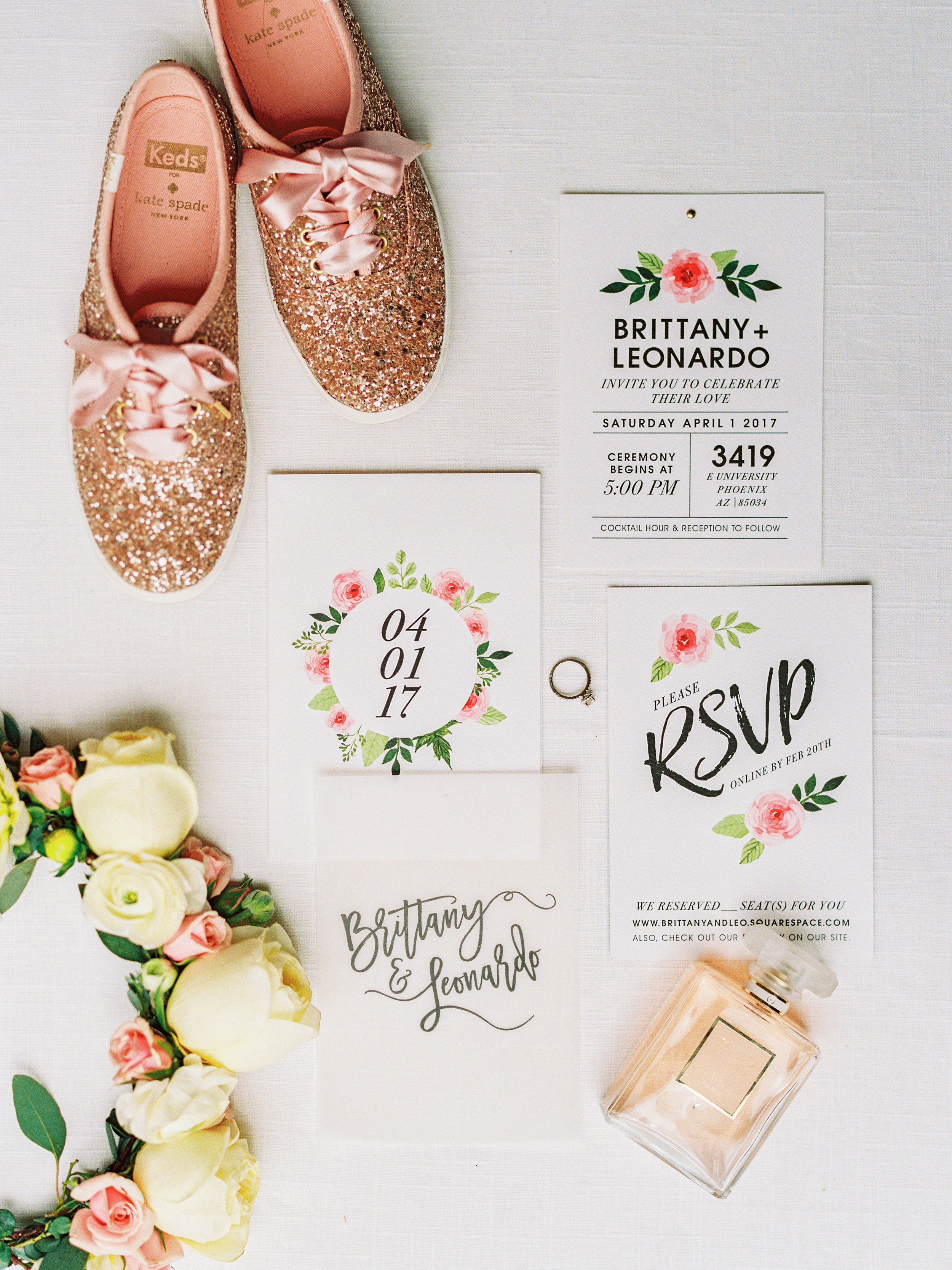 Invitation Design by me (Brittany). Side note: I was dying to have these sparkly  Kate Spade Keds  and the only place I could find them in my size was on  Poshmark .