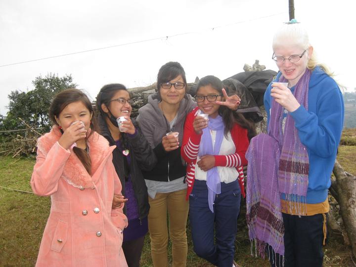 Getting the girls together - Yangzee, Bijaya, Susmita, Bishnu and Puja.
