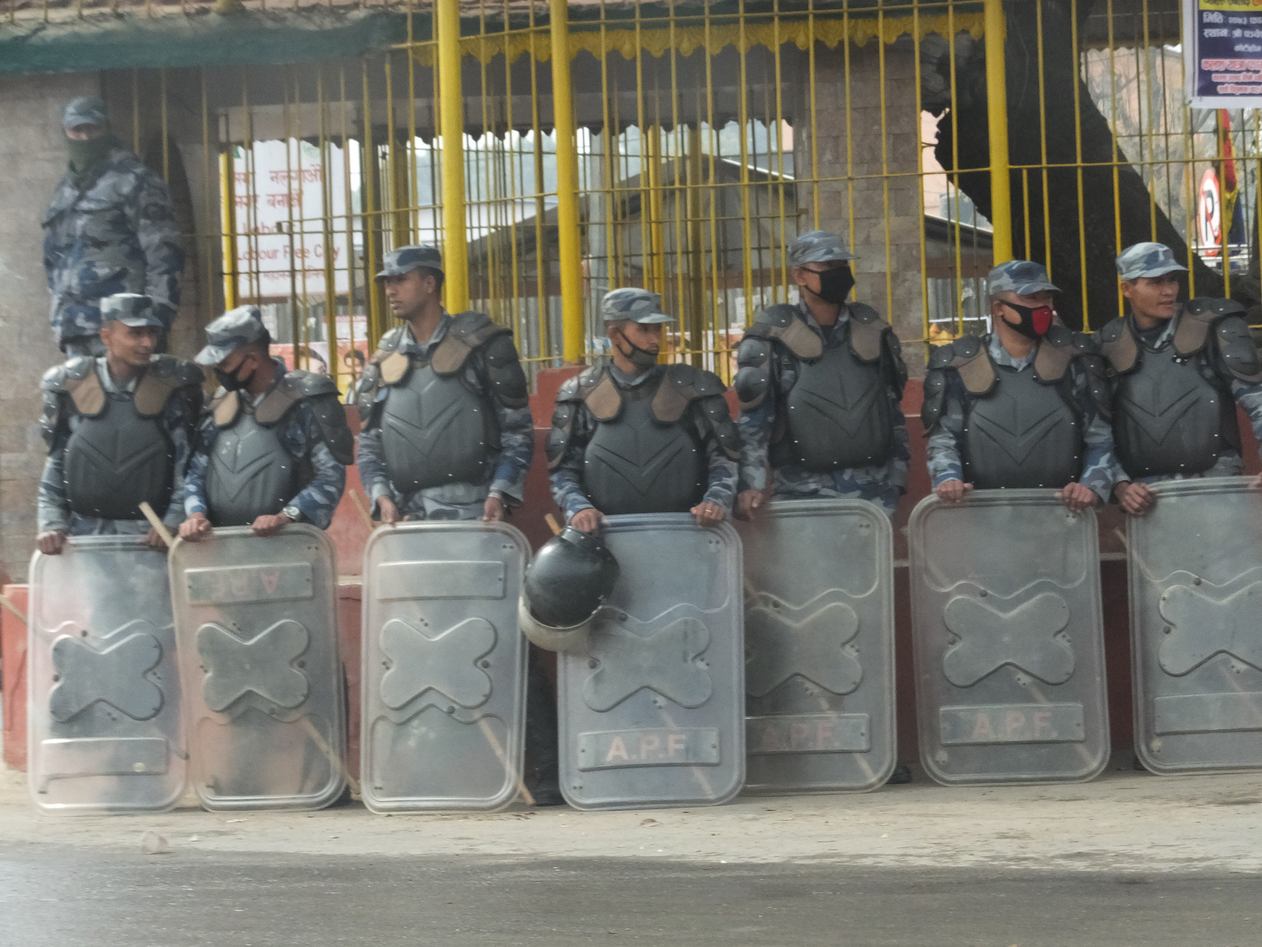 Frequent demonstrations bring police in riot gear.