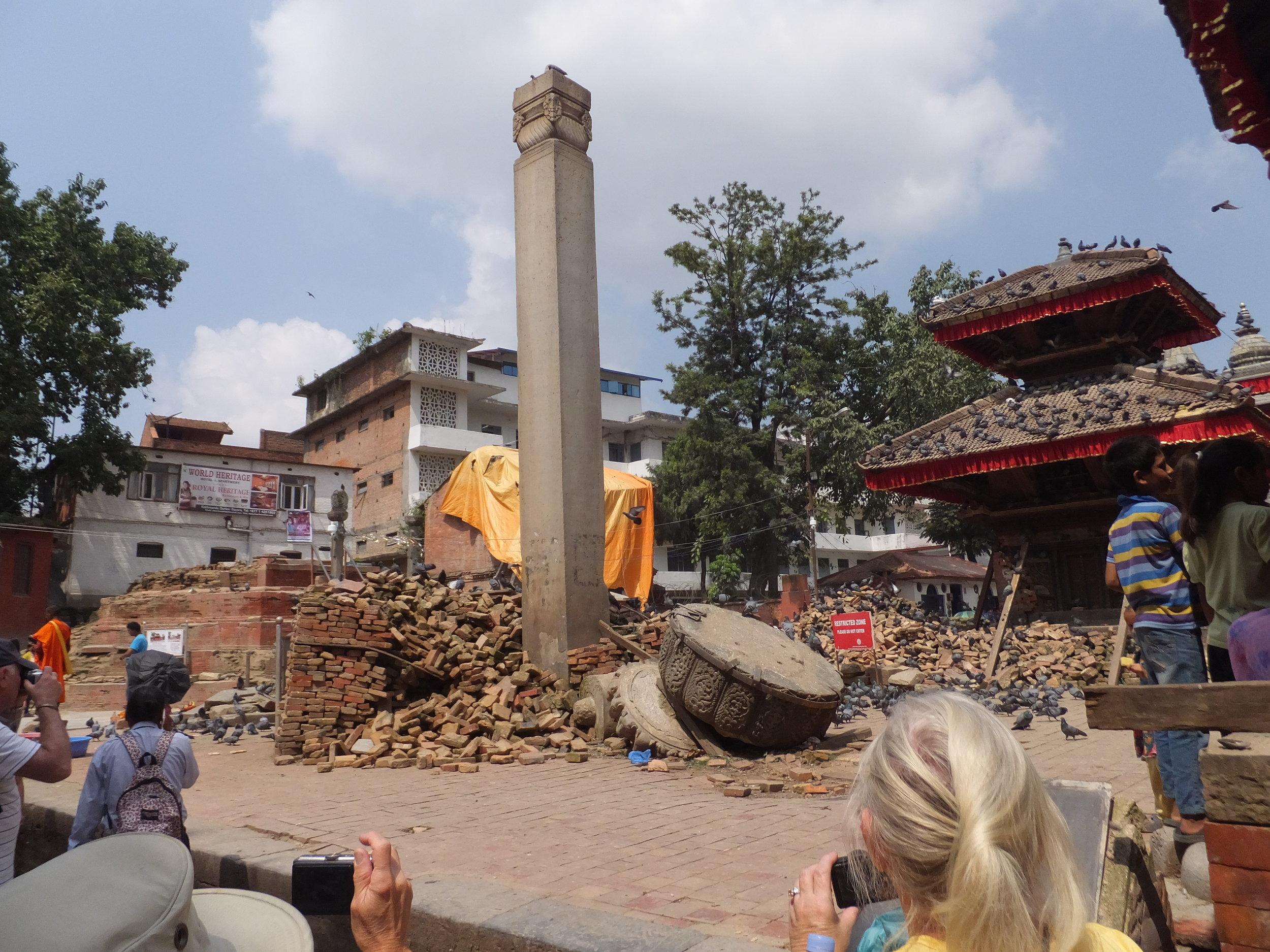 Kathmandu Durber Square World Heritage Site destruction after the earthquake 2015.