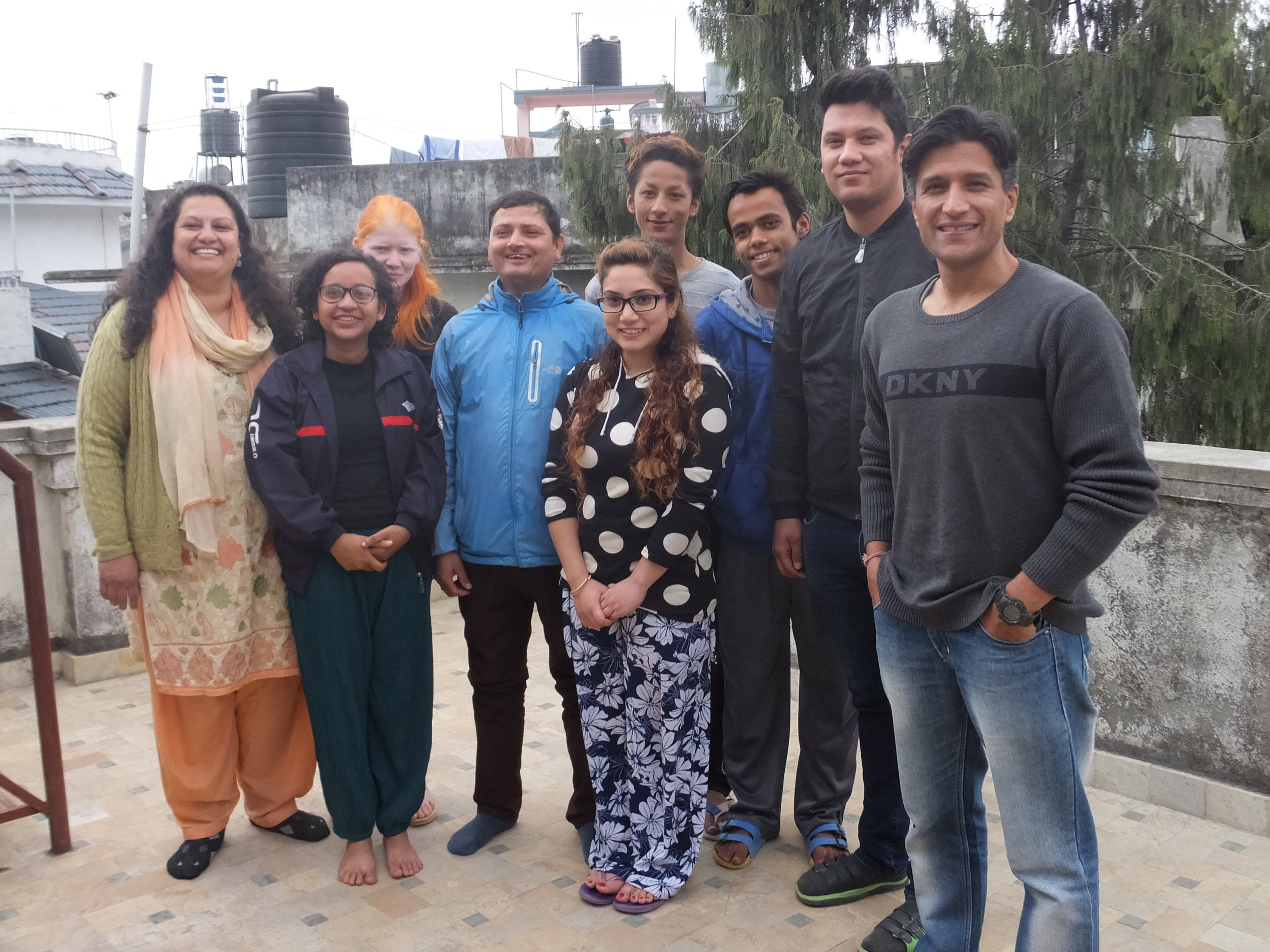 NGO staff members and some older children at the office in Sukedhara, Kathmandu.