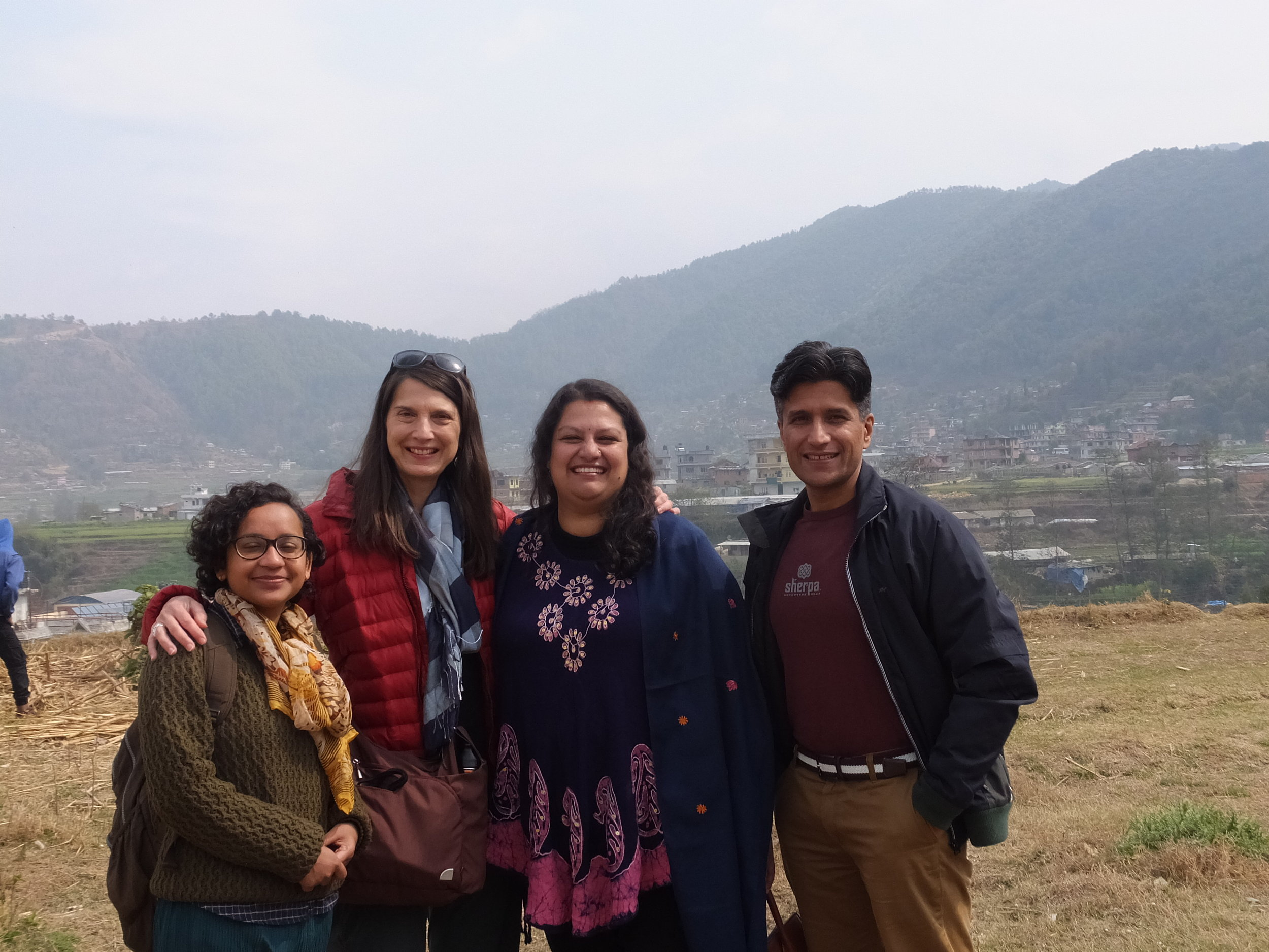 Christine, with NGO Director Leena,  President, Yogesh and staff member, Susmita traveling to visit new children for the program in Godavri, Nepal.