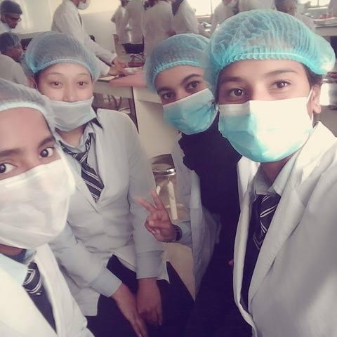 Medical school student Susmita participates in a lab class.