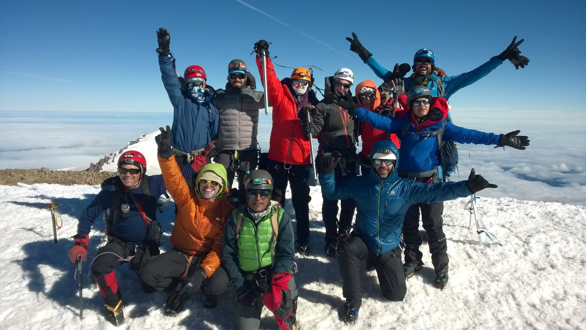 Mount Rainier Climbers at the summit for the Climb for Himalaya Children in Washington