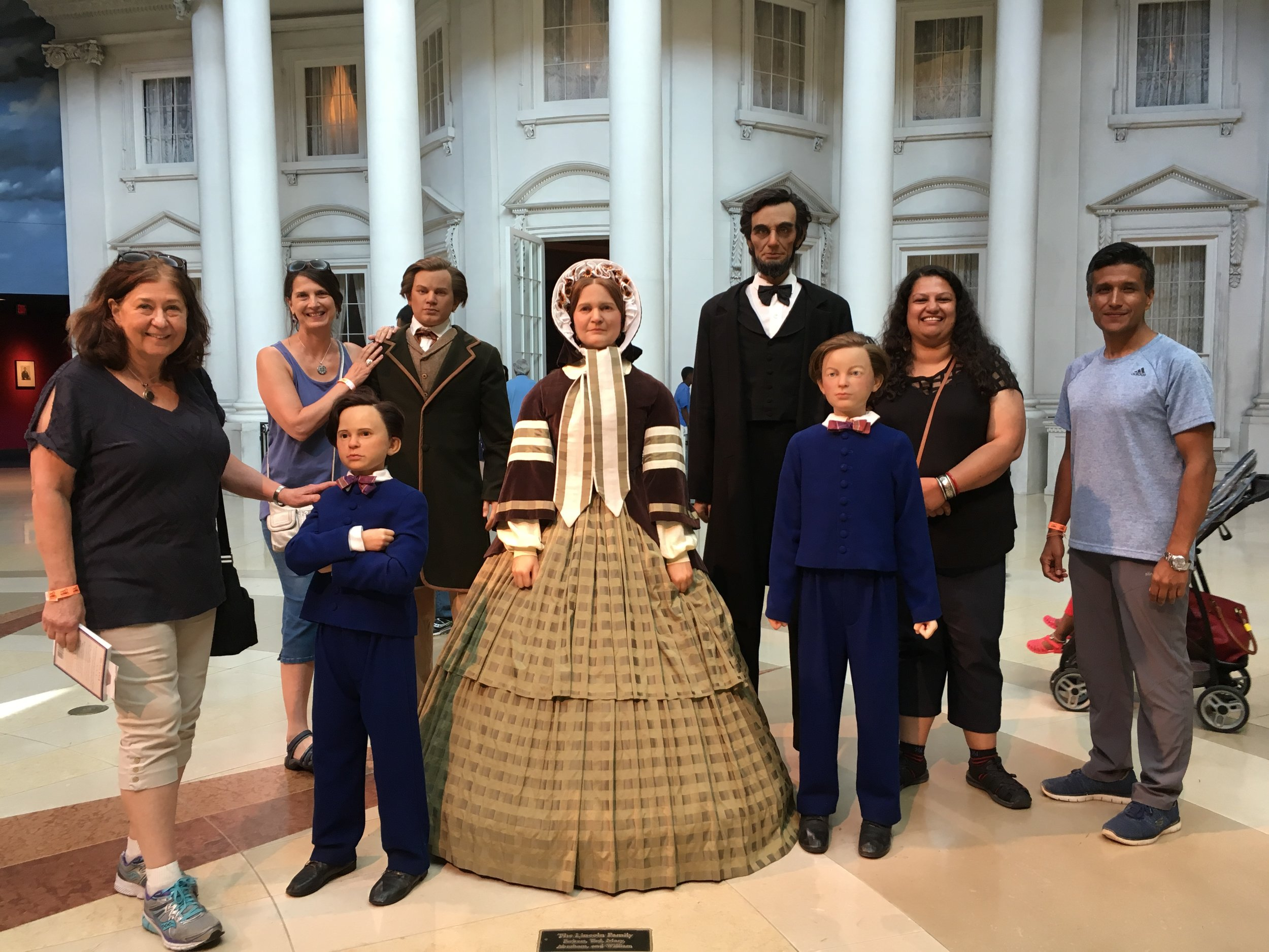 Nancy, Christine, Leena and Yogesh with Lincoln and his family on a sidetrip to Springfield Il.