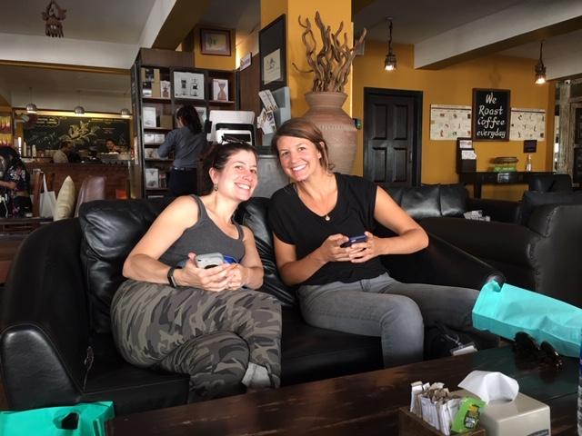 Child sponsor traveler and shopper Stephanie Recht and Board member Tracy Laramie enjoy java in Kathmandu