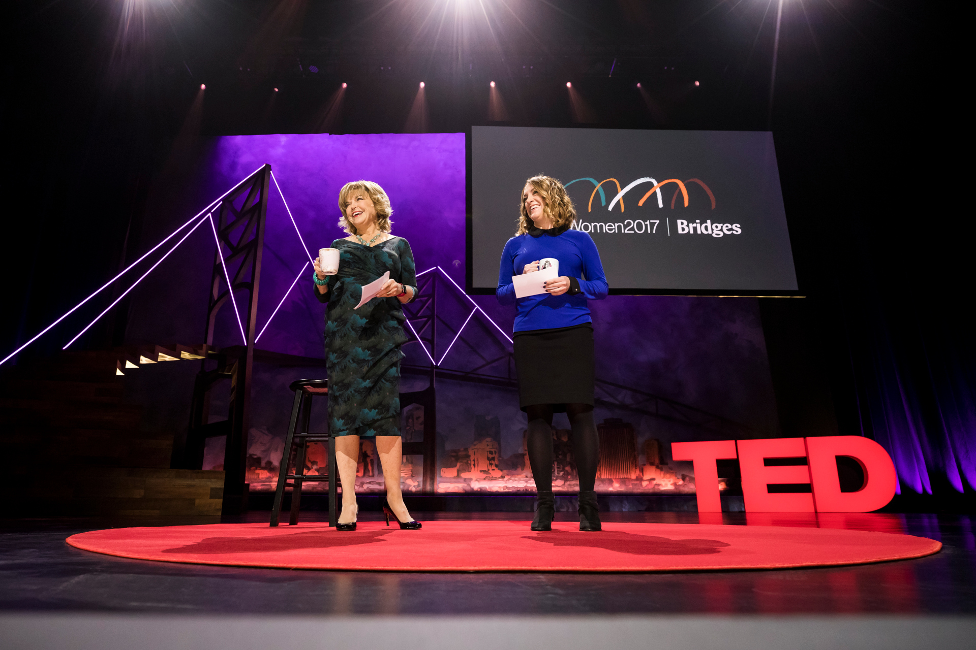 Hosts Pat Mitchell & Kelly Stoetzel speak at TEDWomen 2017 — Bridges, November 1-3, 2017, Orpheum Theatre, New Orleans, Louisiana. Photo: Ryan Lash / TED