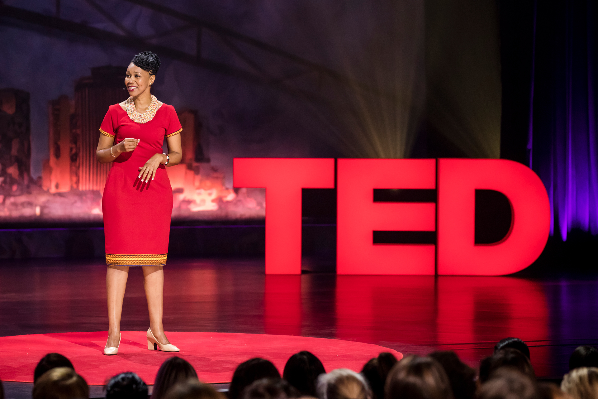 Teresa Njoroge (  Clean Start  ) speaks at TEDWomen 2017 — Bridges, November 1-3, 2017, Orpheum Theatre, New Orleans, Louisiana. Photo: Stacie McChesney / TED