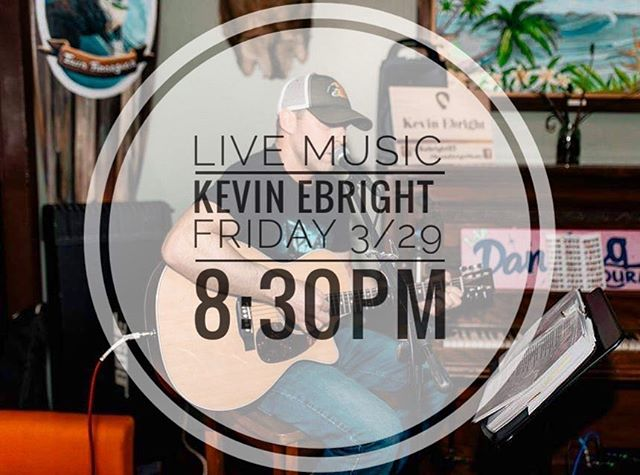 Join us this Friday evening for live music with Kevin Ebright! 🍻🎶🍷