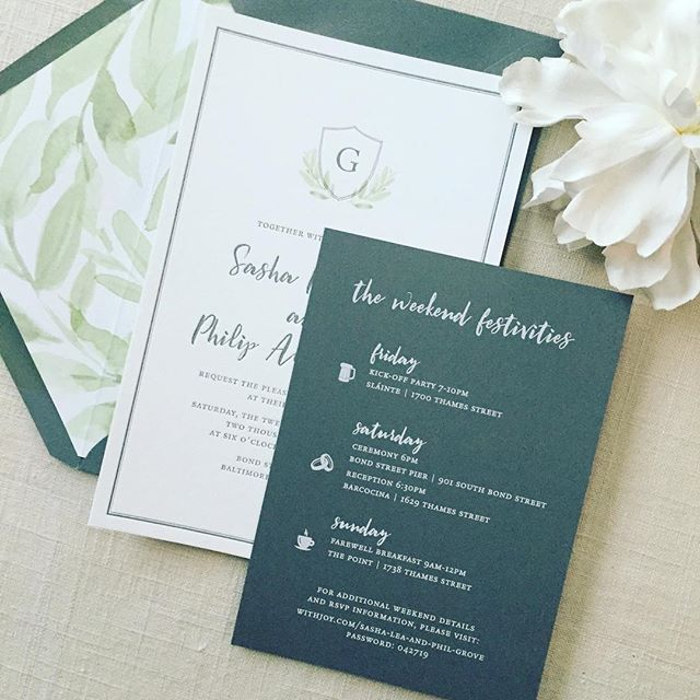 Gray gets me everytime. 💖💖 . . . #letterpress #invitations #custominvitations #envelopeliner #greenery #greenerywedding #gray #weddinginvitations #weddinginvitation #stationeryaddict #stationery #crest #weddingcrest #monogram #paperdetails #dailydoseofpaper #mdwedding #baltimore #baltimoreweddings #barcocina