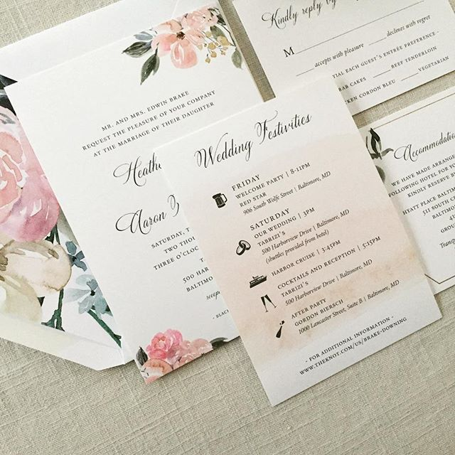 Springtime florals with the softest watercolor swash. Excited for these two to get hitched on Saturday! I was a May bride as well so a little partial to this month. 🥰 . . #weddinginvitations #weddinginvites #floral #floralinvitation #stationery #dailydoseofpaper #stationeryaddict #baltimorewedding