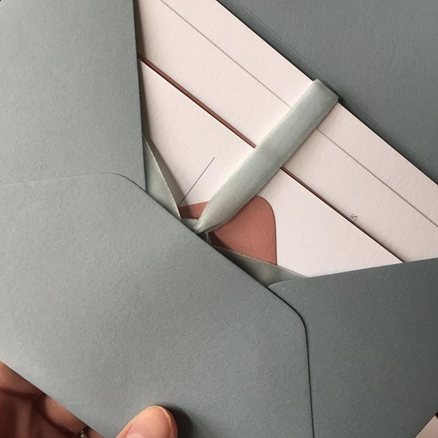All tied with the most perfect velvet ribbon ever. #custominvitations #invitations #velvet #velvetribbon #dustybluewedding #dustyblue #mdwedding #baltimorewedding #baltimoreweddings #belmontmanorweddings #belmontmanor