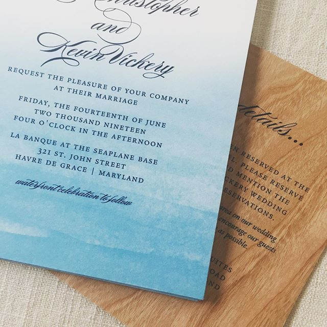 Water + wood.  Excited for this one because I get to be a guest! . . . #weddinginvites #weddinginvitation #watercolor #ombre #ombreinvitations #mdwedding #coastal #waterfront #havredegrace #havredegracemd #wood #stationery #stationeryaddict #paperdetails #dailydoseofpaper #invitations #custominvitations #graphicdesign