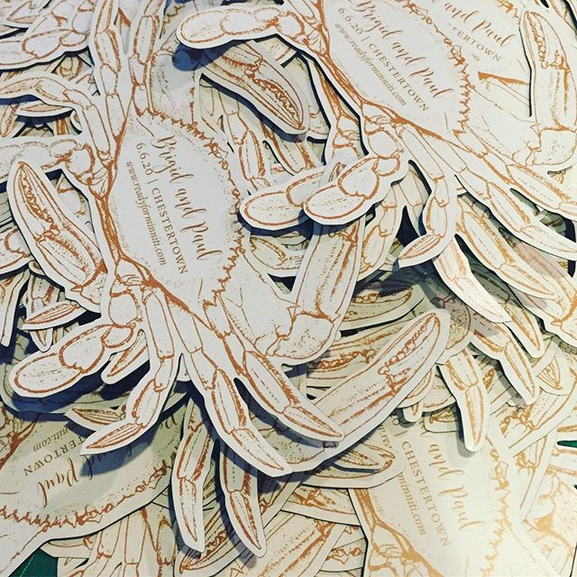 Reminds me a big ol' bushel of crabs. Could possibly be the cutest save the dates we have ever done. Little magnets for these guys. 🦀 🦀 🦀 . . . #savethedates #customsavethedates #crabs #crabmagnet #baltimore #charmcity #baltimorewedding #baltimoreweddings #copper #easternshoremd #easternshorewedding #easternshoreweddings #brittlandmanor