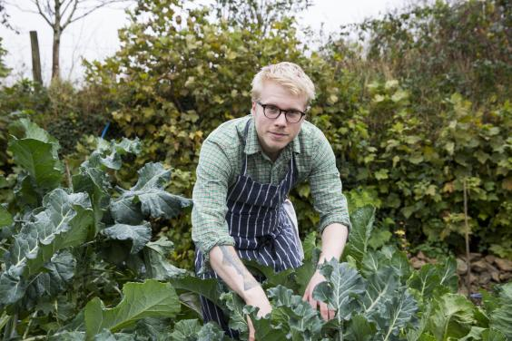 Chef Tom Adams picking his homegrown produce (Charlie McKay)