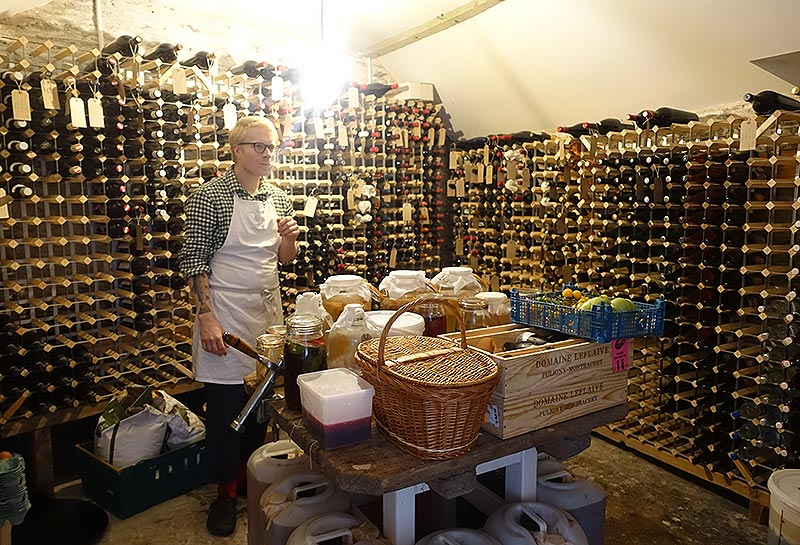 Tom in the well-stocked cellar